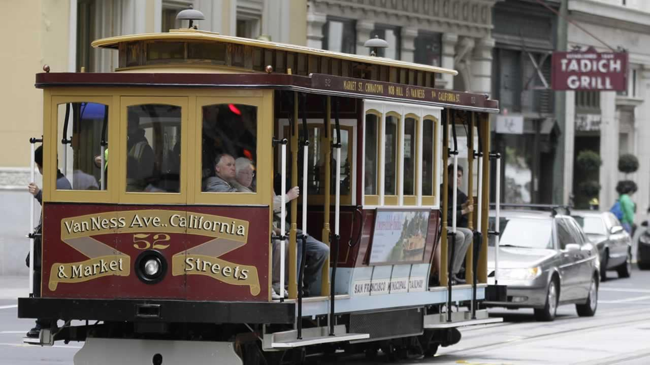 A cable car makes its way past the Tadich Grill on California Street in San Francisco, Monday, June 27, 2011.