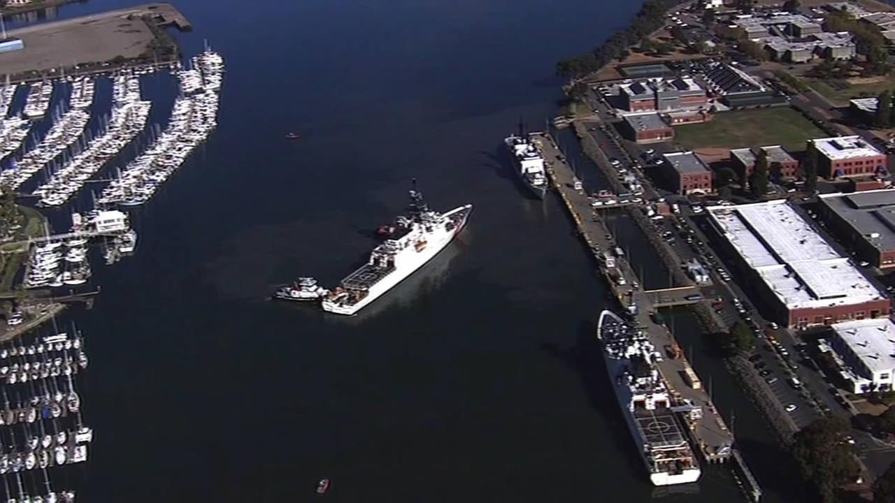 Sky7 HD shows  Alameda-based U.S. Coast Guard Cutter Stratton return to port on Wednesday, August 12, 2015.