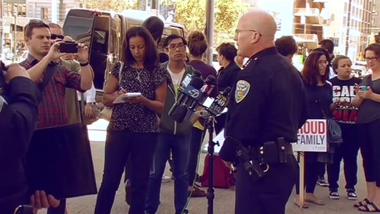 San Francisco Police Chief Greg Suhr held a news conference Wednesday, August 12, 2015 on the arrest of a suspect in the robbery of two TV news crews in San Francisco, Calif.