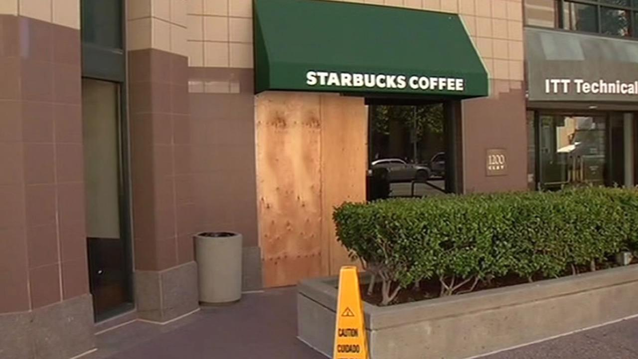 downtown Starbucks store was smashed