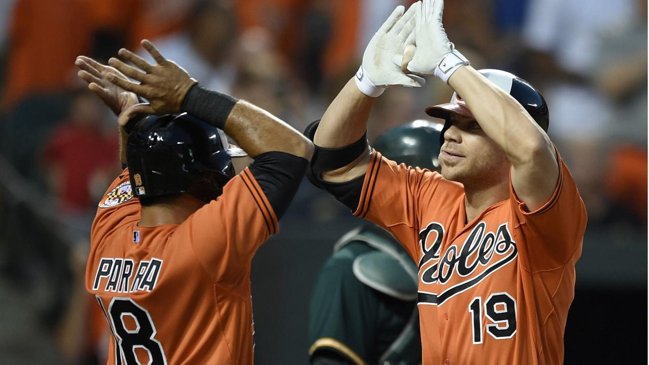 Orioles Chris Davis (19) celebrates his two-run home run with Gerardo Parra (18) against the Oakland Athletics during the fourth inning of a game on August 15, 2005. (AP Photo)