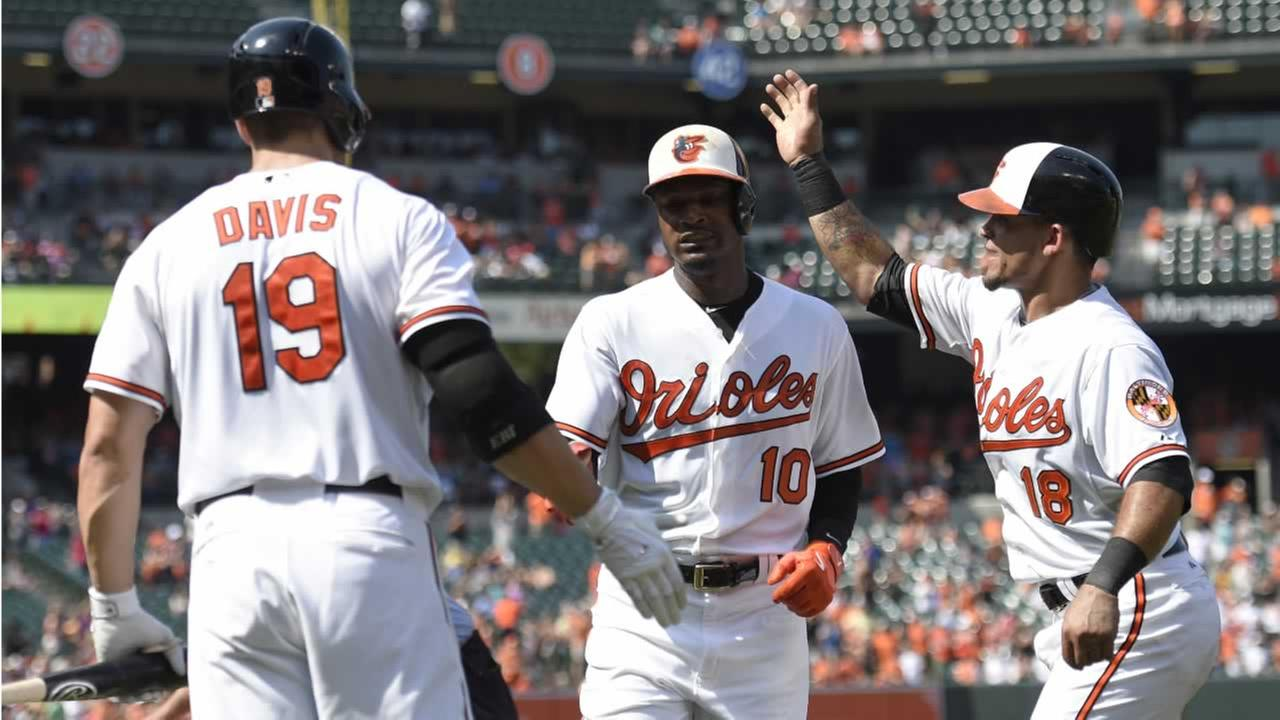 Orioles Adam Jones (10) celebrates his two-run home run with teammates Gerardo Parra and Chris Davis during a baseball game against the Oakland Athletics, Sunday, Aug. 16, 2015,