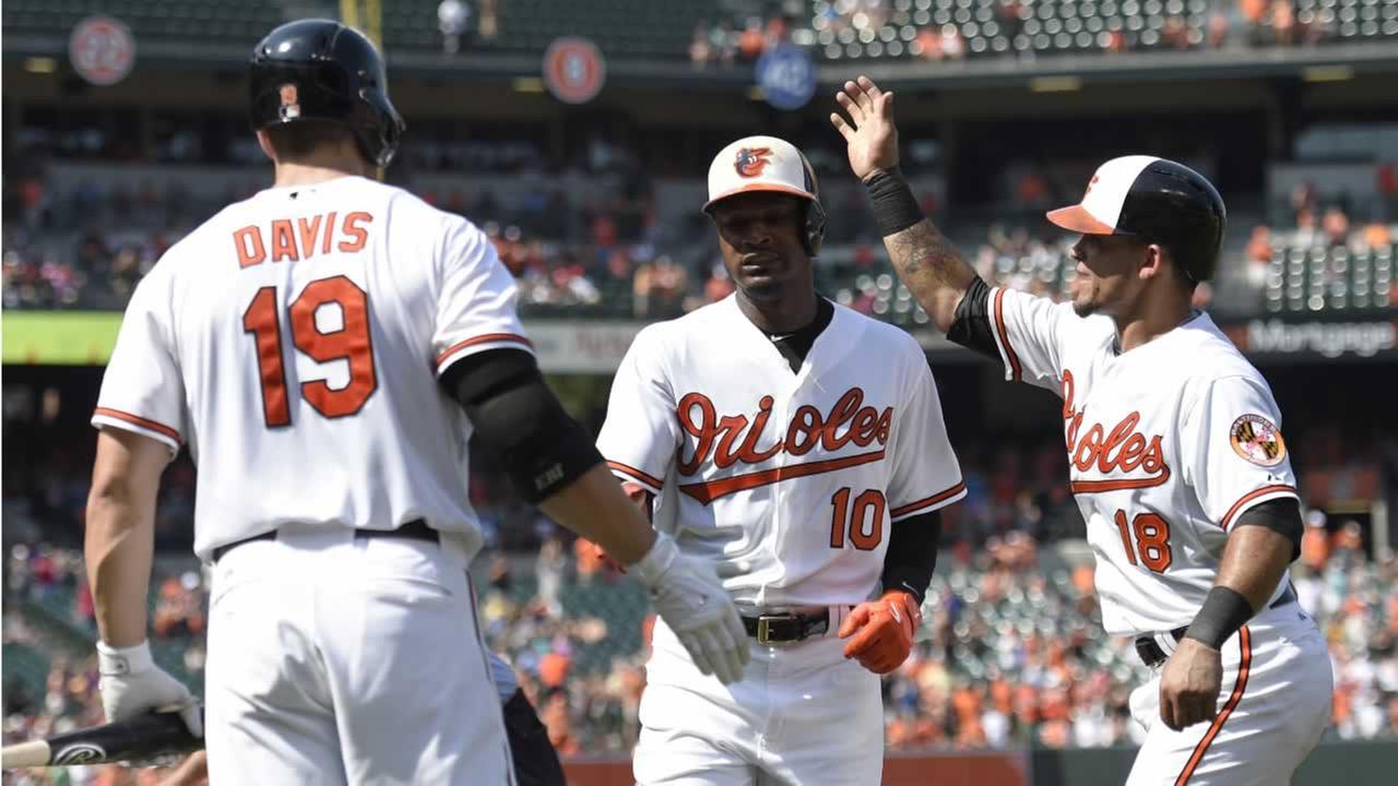 Orioles Adam Jones (10) celebrates his two-run home run with teammates Gerardo Parra and Chris Davis during a baseball game against the Oakland Athletics, Sunday, Aug. 16, 2015,