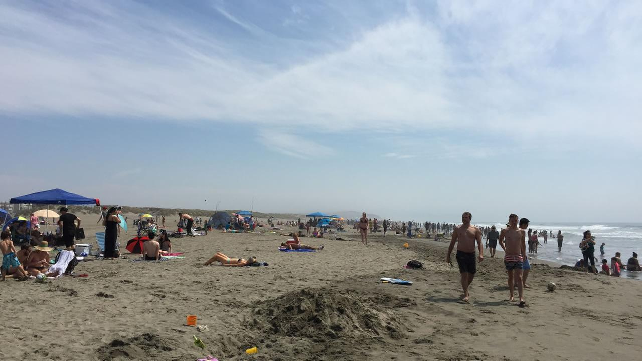Hundreds headed to Ocean Beach Sunday, August 16, 2015 to escape the hot temperatures throughout the Bay Area.