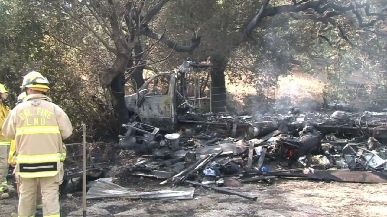 Sonoma County firefighters battled a fire at a mobile home that left one man dead, August 16, 2015.