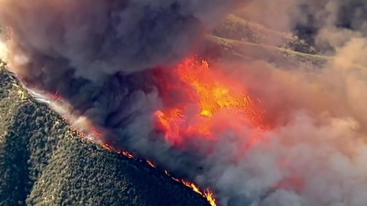 The Warm Fire has burned some 300 acres of heavy brush northeast of Castaic Lake in the Angeles National Forest and is 10 percent contained as of Monday, August 17, 2015.