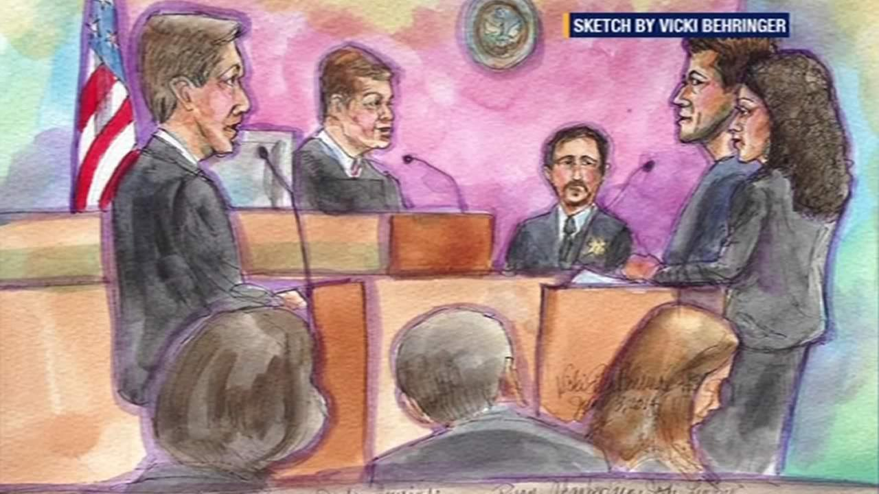 Courtroom sketch of Ryan Chamberlain.