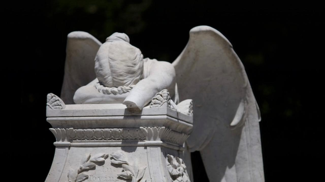 The Angel of Grief, a popular statue at Stanford University, was vandalized in Stanford, Calif. on Tuesday, August 18, 2015.