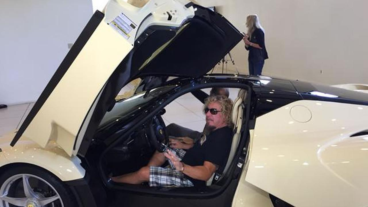 Rock legend Sammy Hagar sits in his custom-made LaFerrari for the first time August 19, 2015.