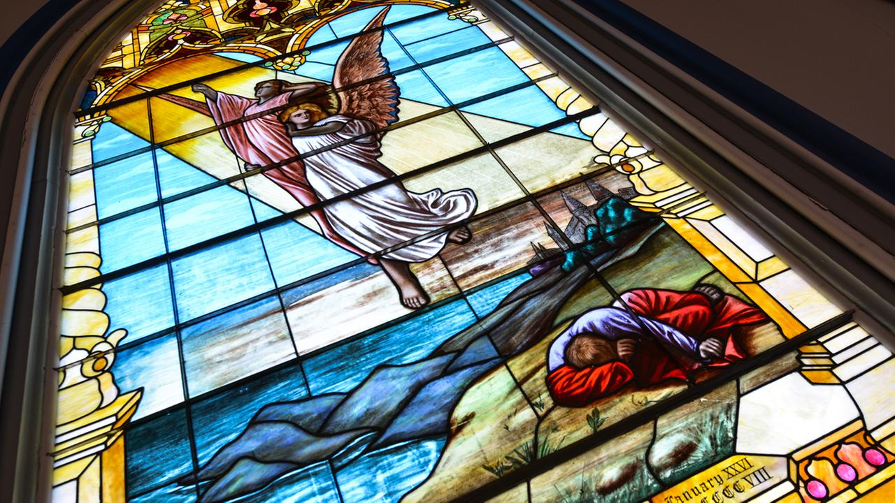 One of the original stained glass windows in the First Presbyterian Church in Napa, Calif. is seen on Tuesday, August 11, 2015. KGO-TV/Wayne Freedman
