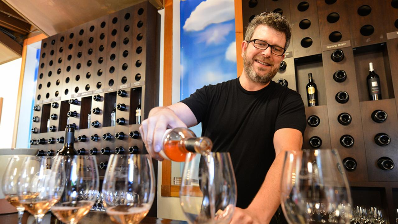 Garret Murphy of the Vintners Collective in the historic Pfeiffer Building is seen in Napa, Calif. on August 12, 2015. Hes still in business after a tough year.KGO-TV/Wayne Freedman