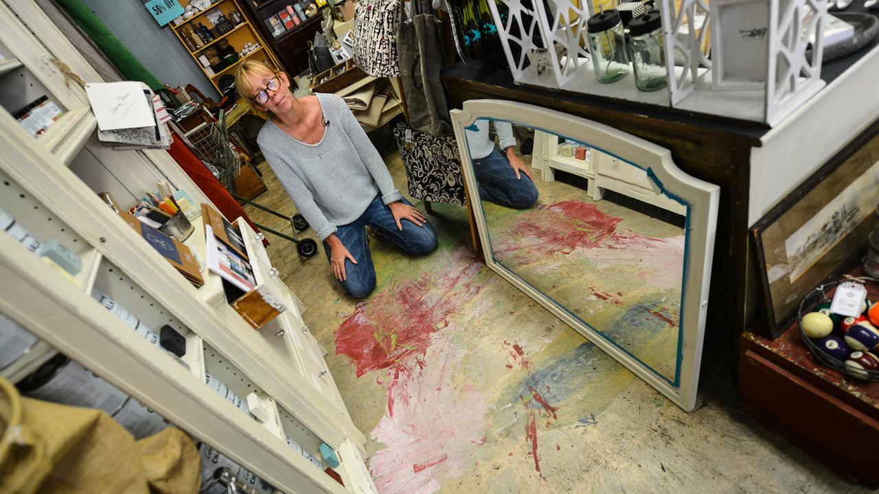 On Tuesday, August 11, 2015 in her Napa, Calif. store called The Roost, owner Patricia Trimble shows us where $11,000-worth of craft paint fell on the floor during the quake.KGO-TV/Wayne Freedman