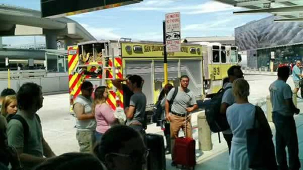SFFD arrives at Terminal 2 at San Francisco International Airport to investigate a suspicious object on Sunday, August 23, 2015.