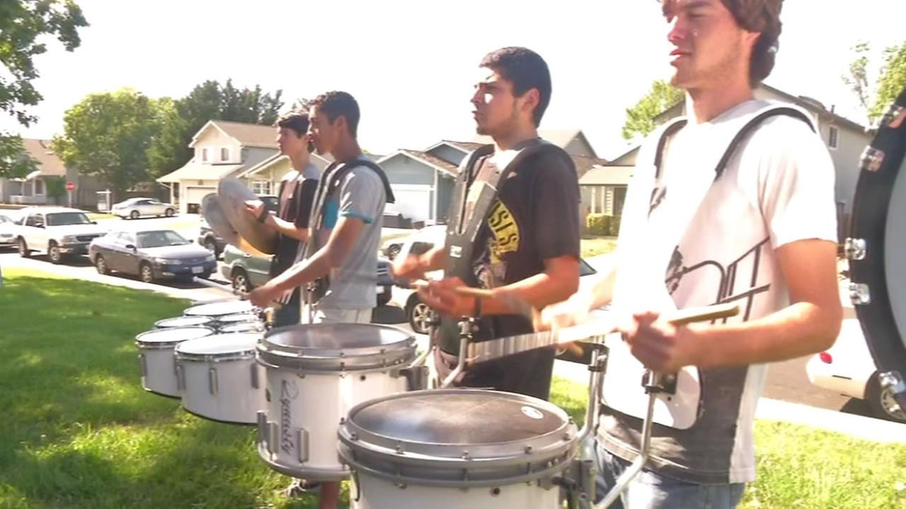 This undated photo shows Rancho Cotati High School band drummers practicing in Rohnert Park.