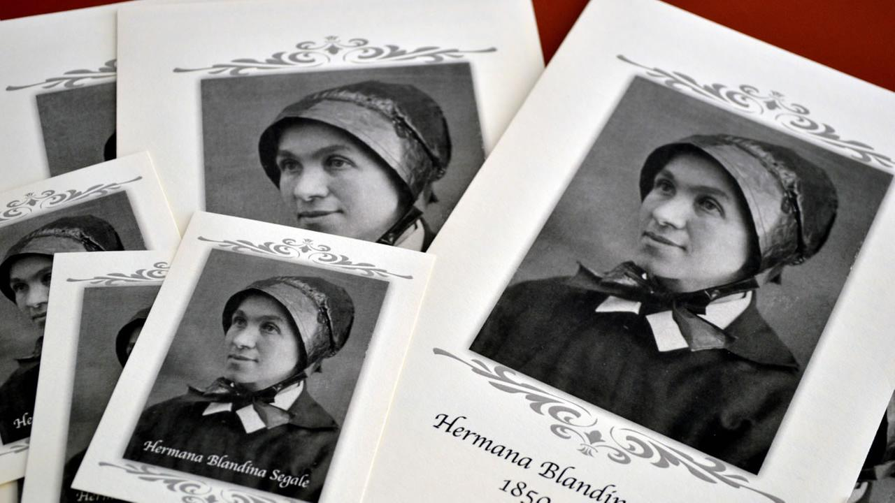 Pamphlets and prayer cards of Sister Blandina Segale sit on a table at the Catholic Center in Albuquerque, N.M.