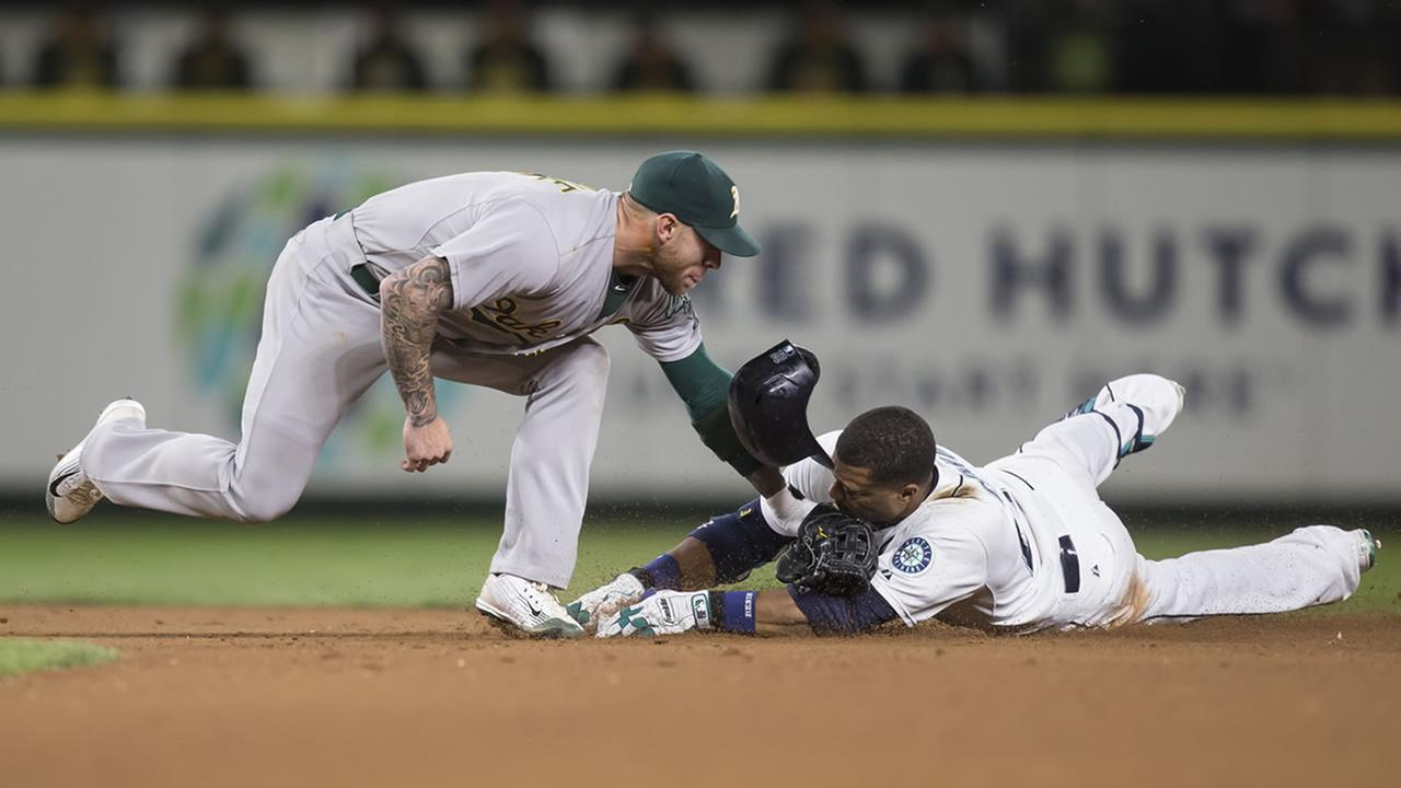 Oakland As second baseman Brett Lawrie
