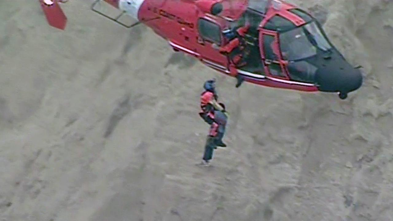 Cliff rescue in Daly City, Wednesday, August 26, 2015.