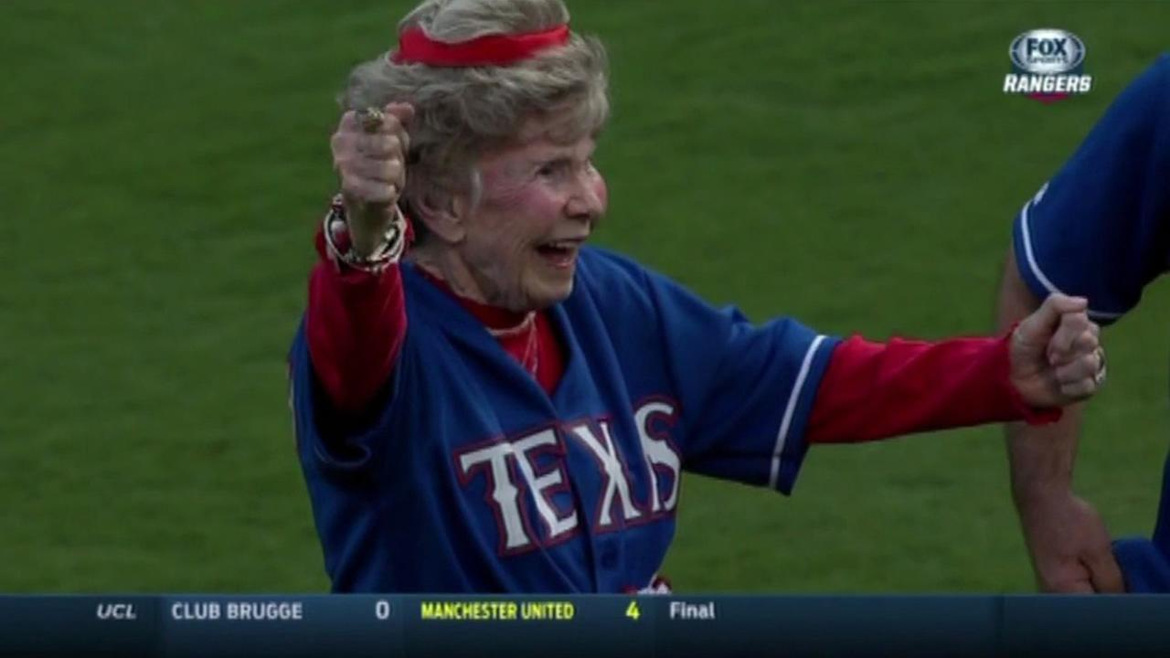 Lucille Fleming, 103, threw out the first pitch at a Texas Rangers baseball game in Arlington, Texas on Wednesday, August 26, 2015.