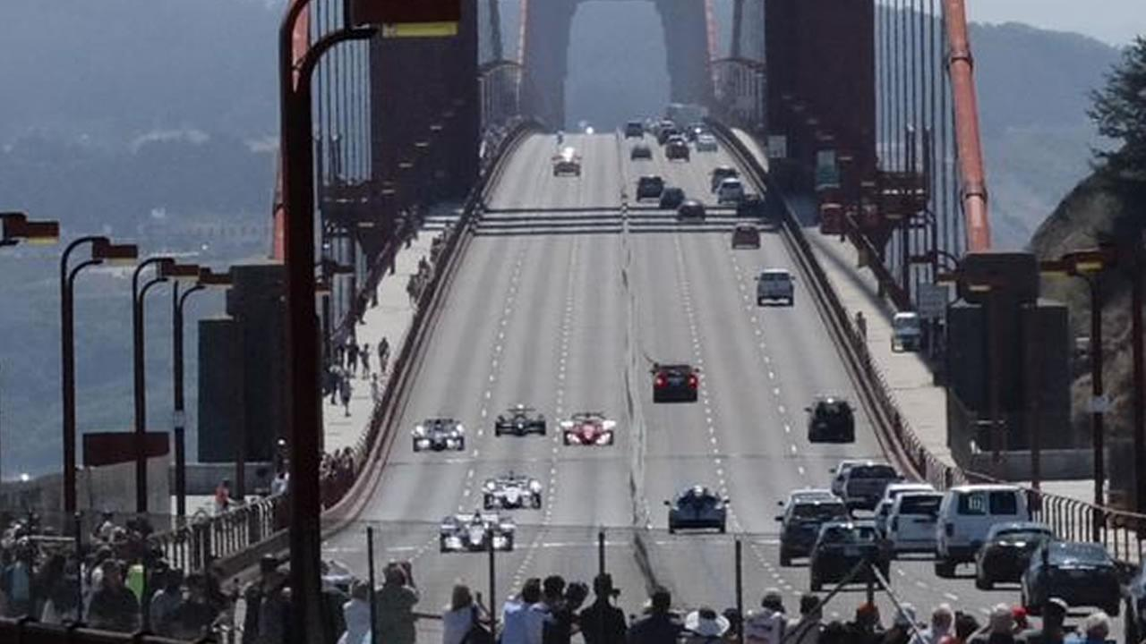 IndyCars drove across the Golden Gate Bridge ahead of the this weekends IndyCar race at Sonoma Raceway, August 27, 2015.