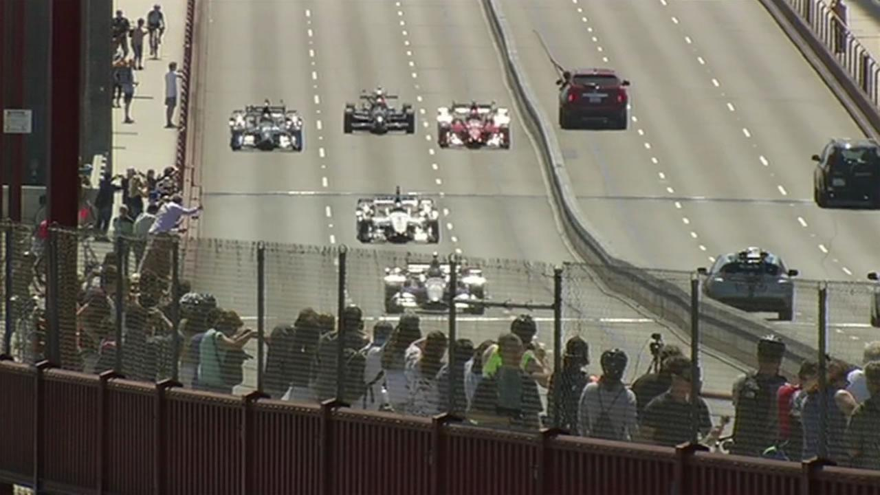 Five IndyCars drove across the Golden Gate Bridge to promote this weekends race at Sonoma Raceway, August 27, 2015.