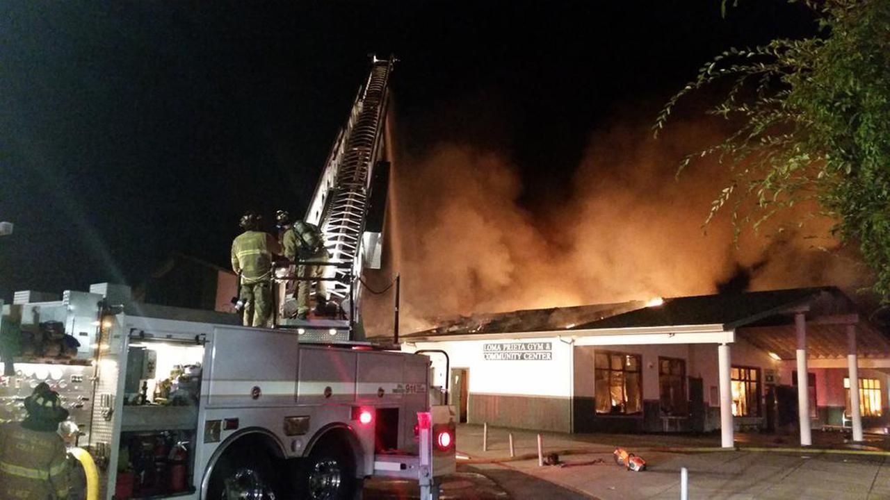 Fire at Loma Prieta Elementary School and CT English Middle School in Los Gatos, Monday, August 31, 2015.