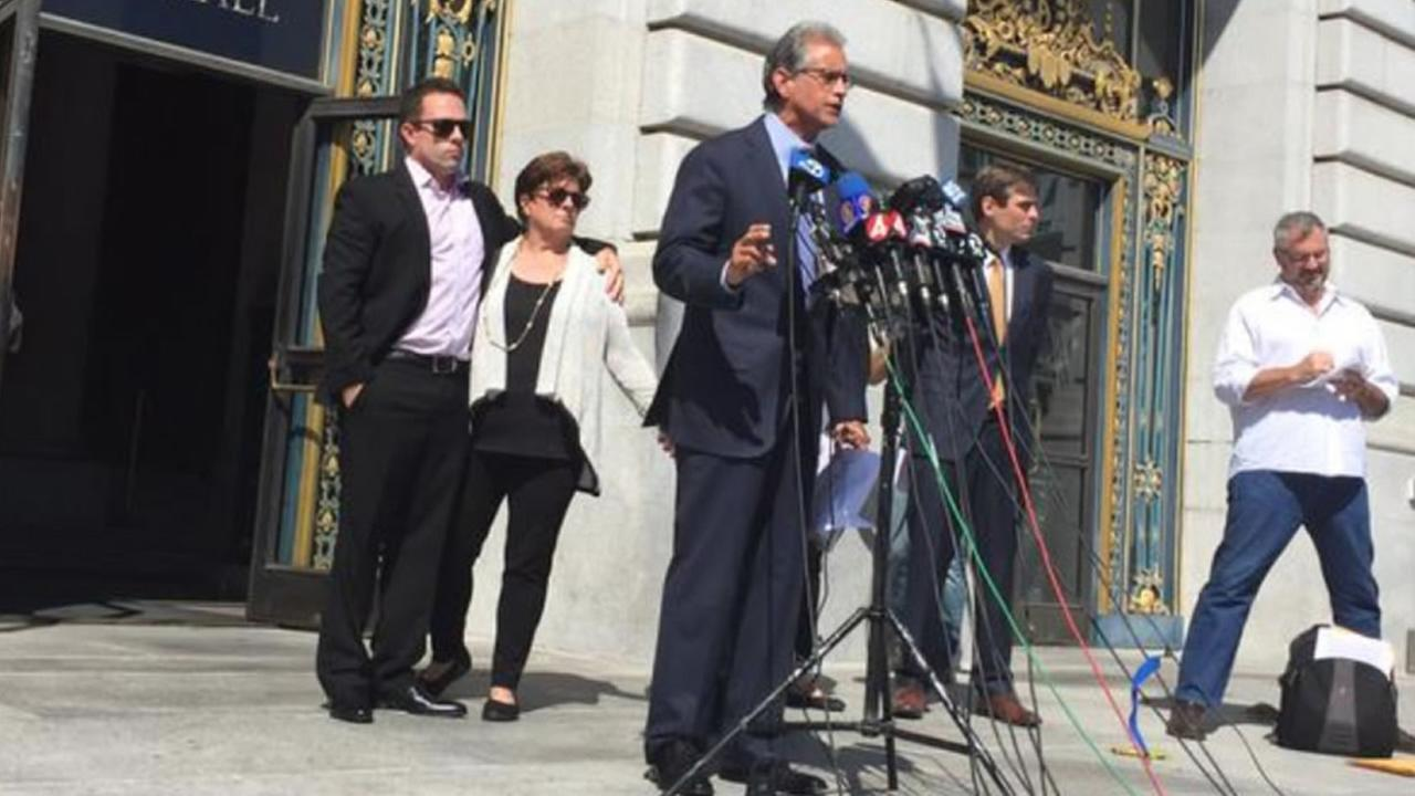 The family of Kate Steinle, hold a press conference in San Francisco on Tuesday, Sept. 1, 2015, to announce their legal claims filed against city and federal authorities.