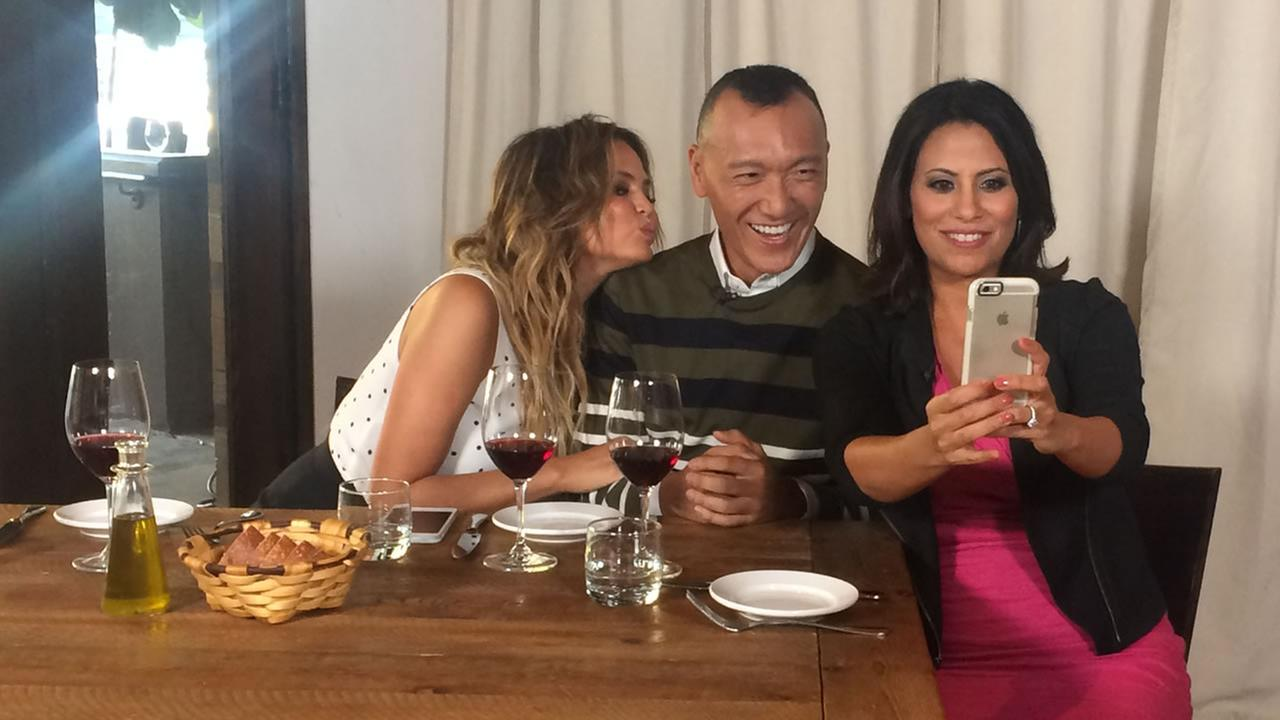 Bay Area LIFE Host Lizzie Bermudez and FABLife Lifestylists Chrissy Teigen and Joe Zee take a selfie in San Francisco on Monday, August 10, 2015.KGO-TV