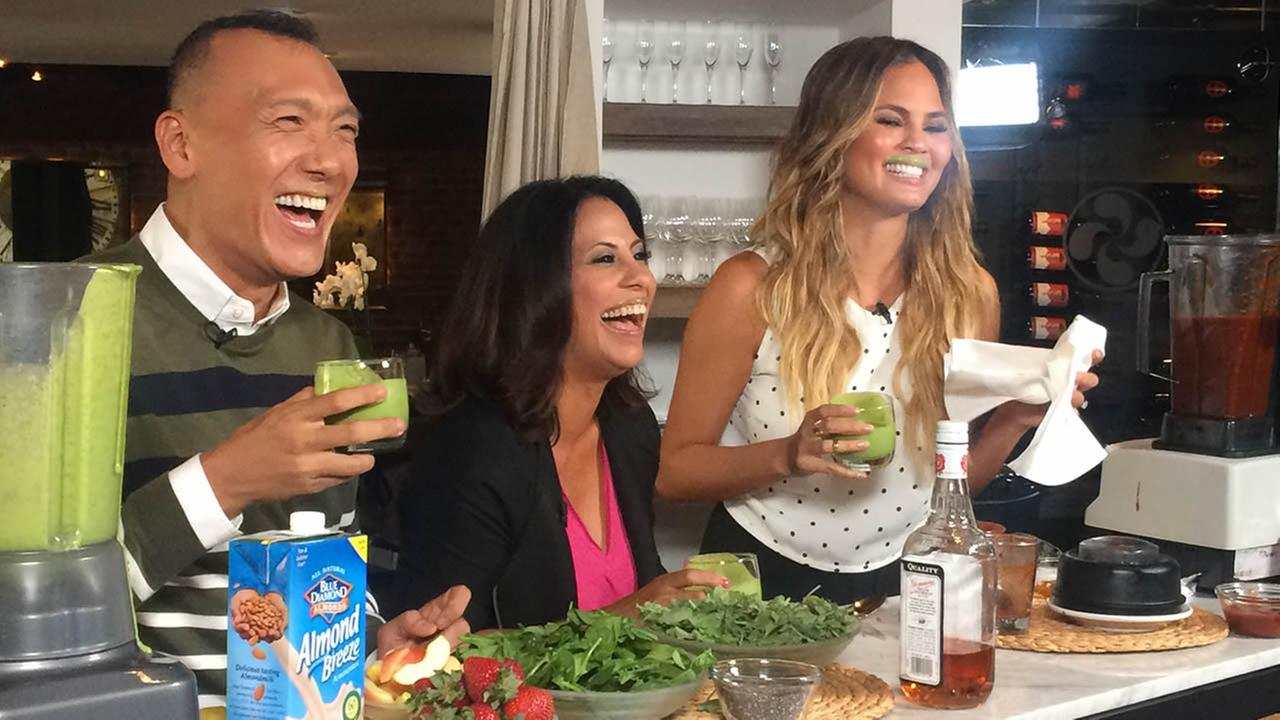 Bay Area LIFE Host Lizzie Bermudez and FABLife Lifestylists Chrissy Teigen and Joe Zee show off their green drink mustaches in San Francisco on Monday, August 10, 2015.KGO-TV