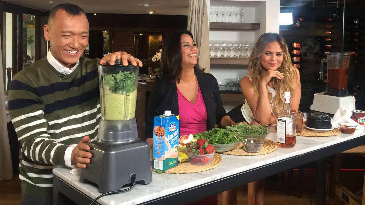 Bay Area LIFE Host Lizzie Bermudez and FABLife Lifestylists Chrissy Teigen and Joe Zee share a laugh at Piperade in San Francisco on Monday, August 10, 2015.August 10, 2015.