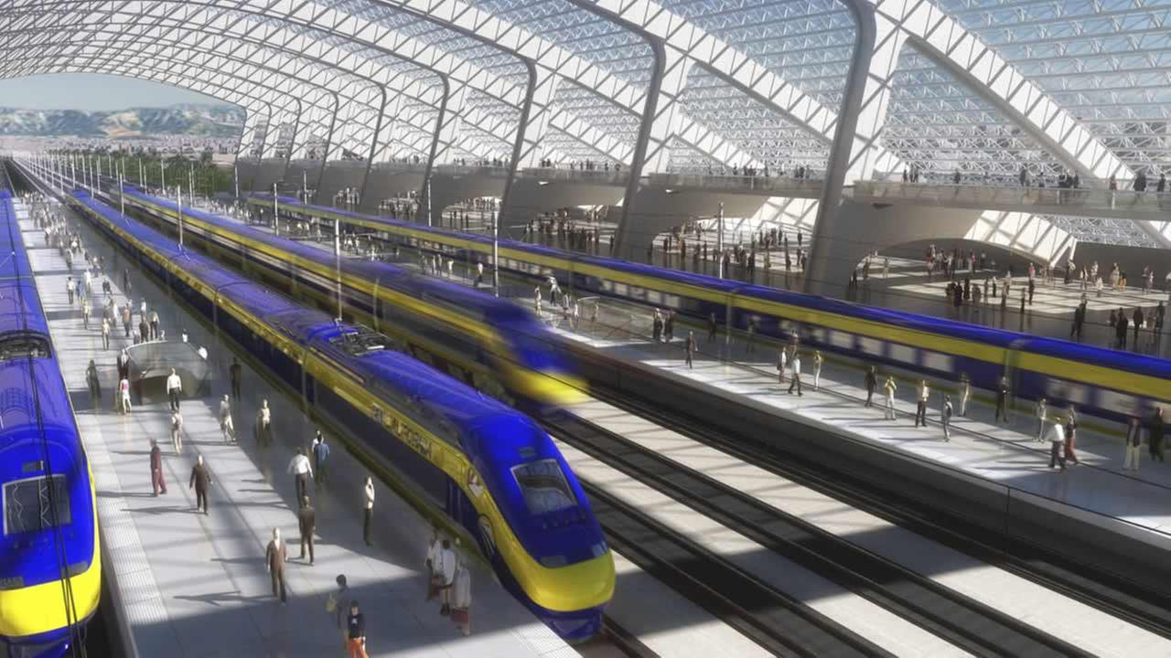 Artists rendering of a high-speed train station. (AP Photo/California High Speed Rail Authority, File)