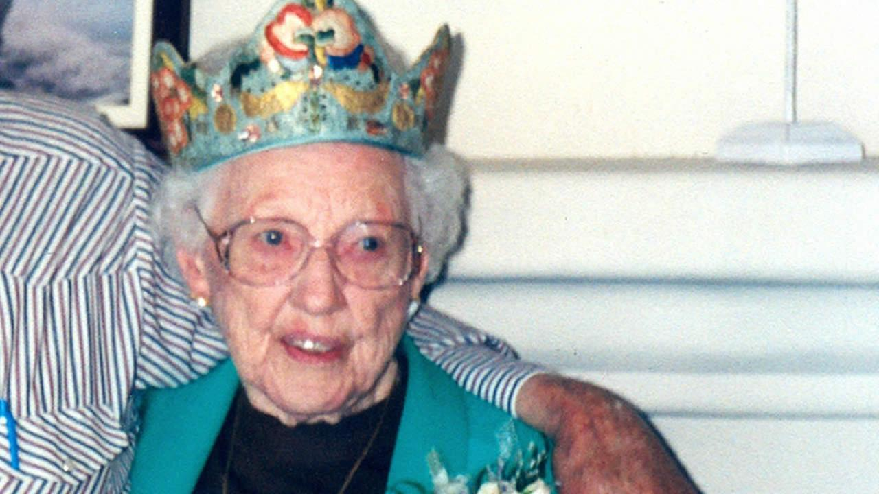 This Sept. 23, 2001 photo shows Ruth Newman celebrating her 100th birthday. Newman, who survived San Franciscos 1906 earthquake, died in July 2015 at the age of 113.