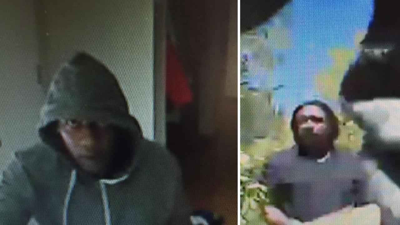 These images from surveillance video show two suspects in a burglary in Hillsborough, Calif. on Tuesday, September 1, 2015.