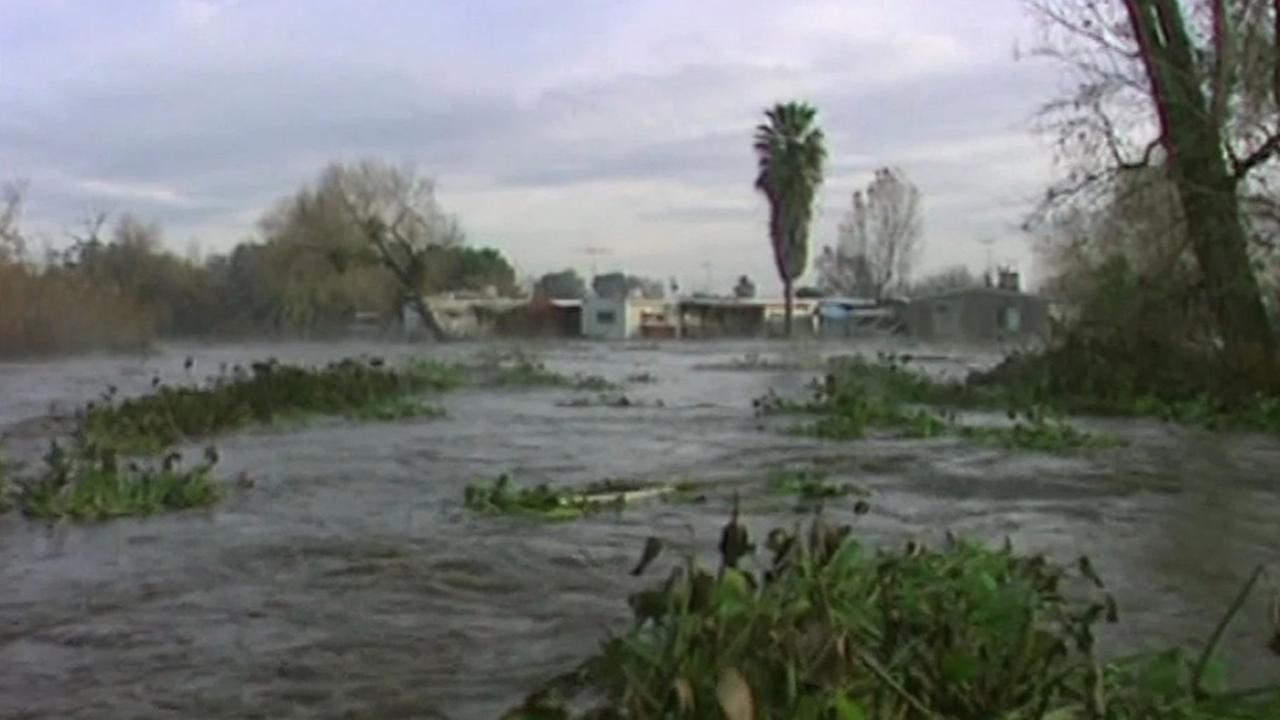 This undated image shows El Nino flooding in Northern California.