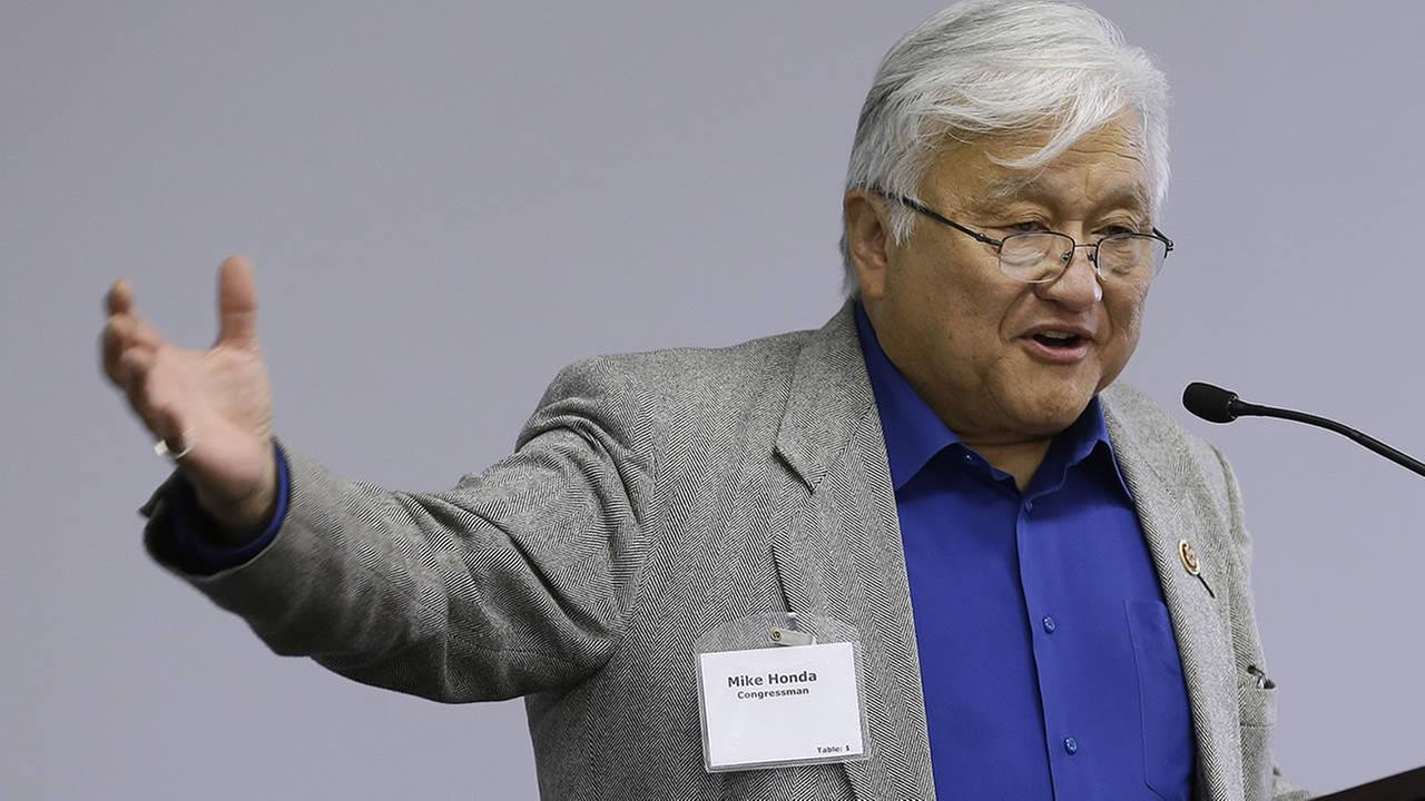 In this May 2, 2013 file photo, U.S. Rep. Mike Honda speaks during the City of Fremont Legislative Brunch at Tesla motors in Fremont, Calif.  (AP Photo/Jeff Chiu, file)