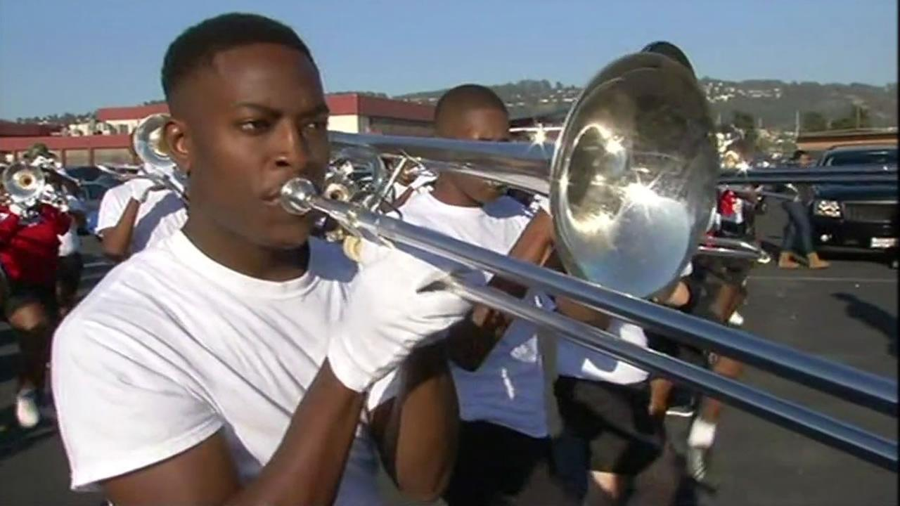 A member of the famous Grambling State University Marching Band practices in Richmond, Calif. on Thursday, September, 3, 2015.