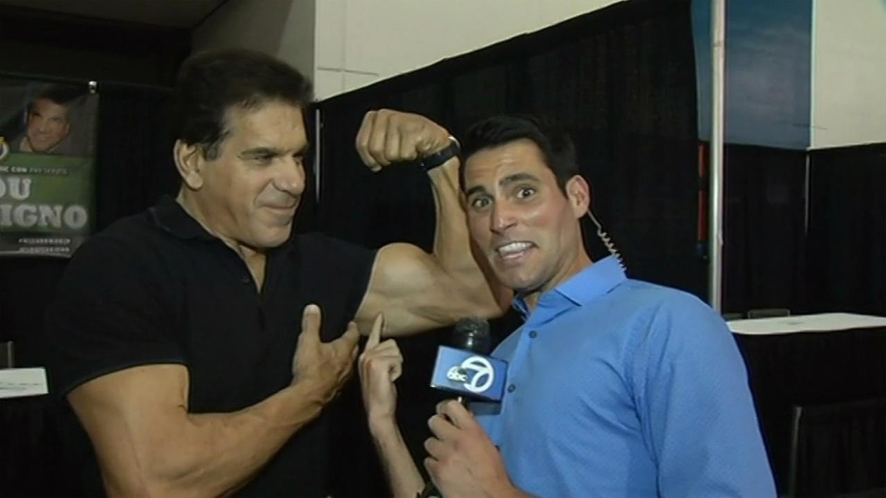 Lou Ferrigno, the original Hulk, flexes for ABC7 Meteorologist Drew Tuma at the Wizard World Comic Con at the San Jose Convention Center on Friday, September 4, 2015.