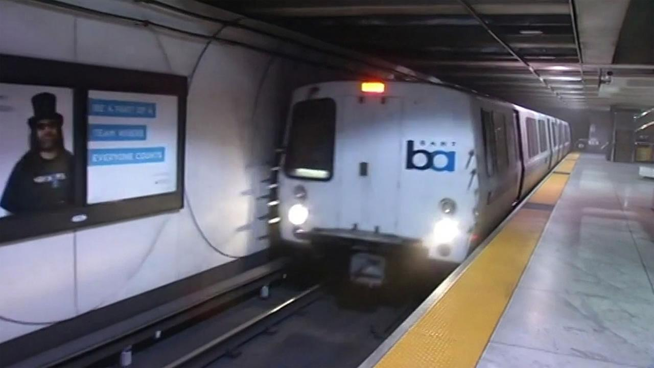 A BART train pulls up to Embarcadero Station in San Francisco on Tuesday, September 8, 2015.
