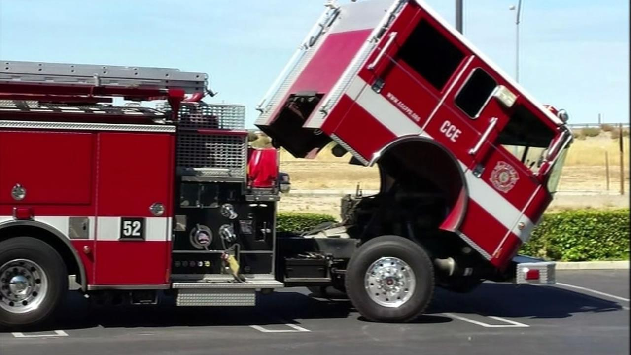 With their hood up in the parking lot of a Chuck E. Cheese, all the East Contra Costa Co. fire crew could do was wait for a tow truck on Tuesday, September 8, 2015.