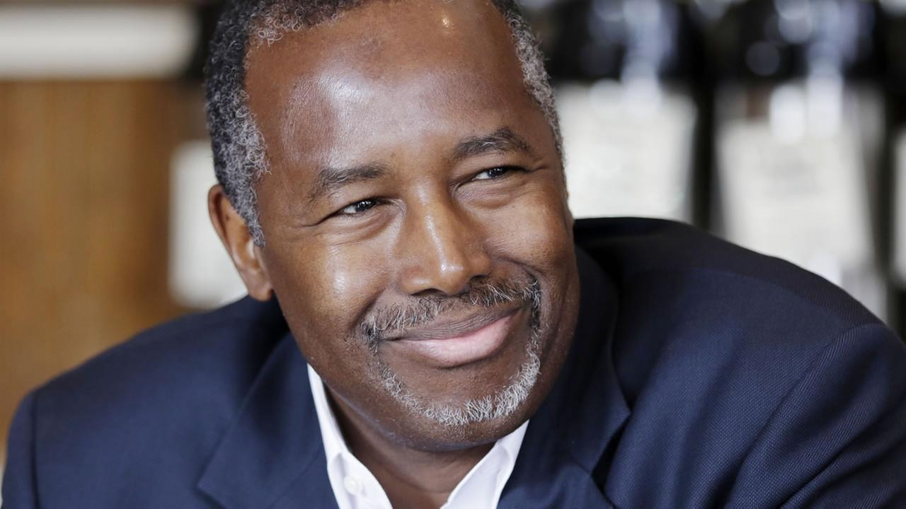 Republican presidential candidate Ben Carson is interviewed in Little Rock, Ark., Thursday, Aug. 27, 2015. (AP Photo/Danny Johnston)