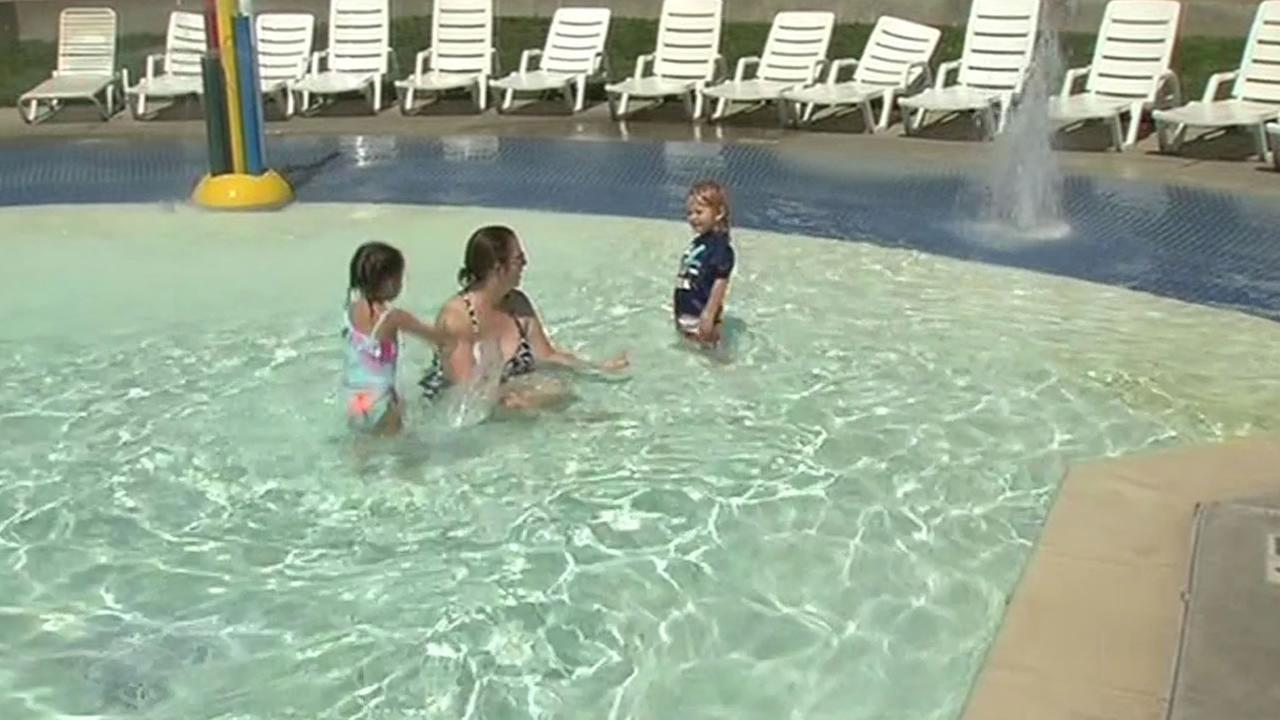 family swimming