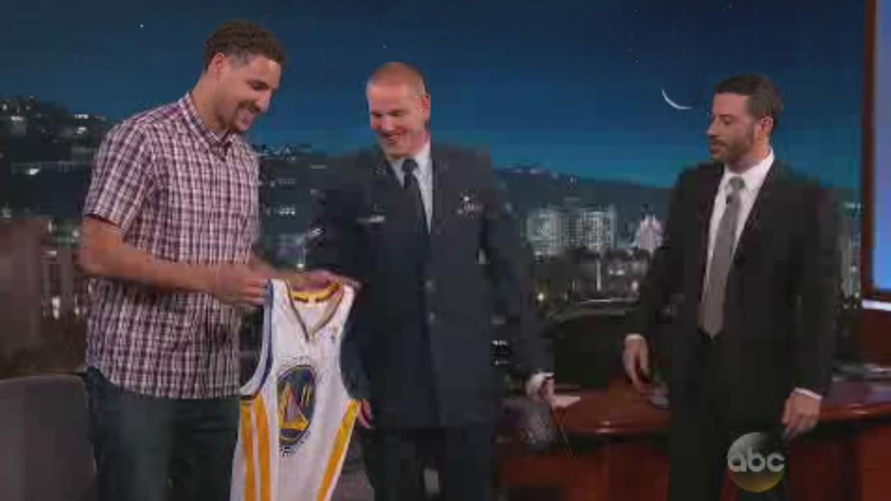 The Golden State Warriors Klay Thompson presented U.S. Airman Spencer Stone with a Warriors championship jersey and a hat on Jimmy Kimmel Live, Sept. 8, 2015.