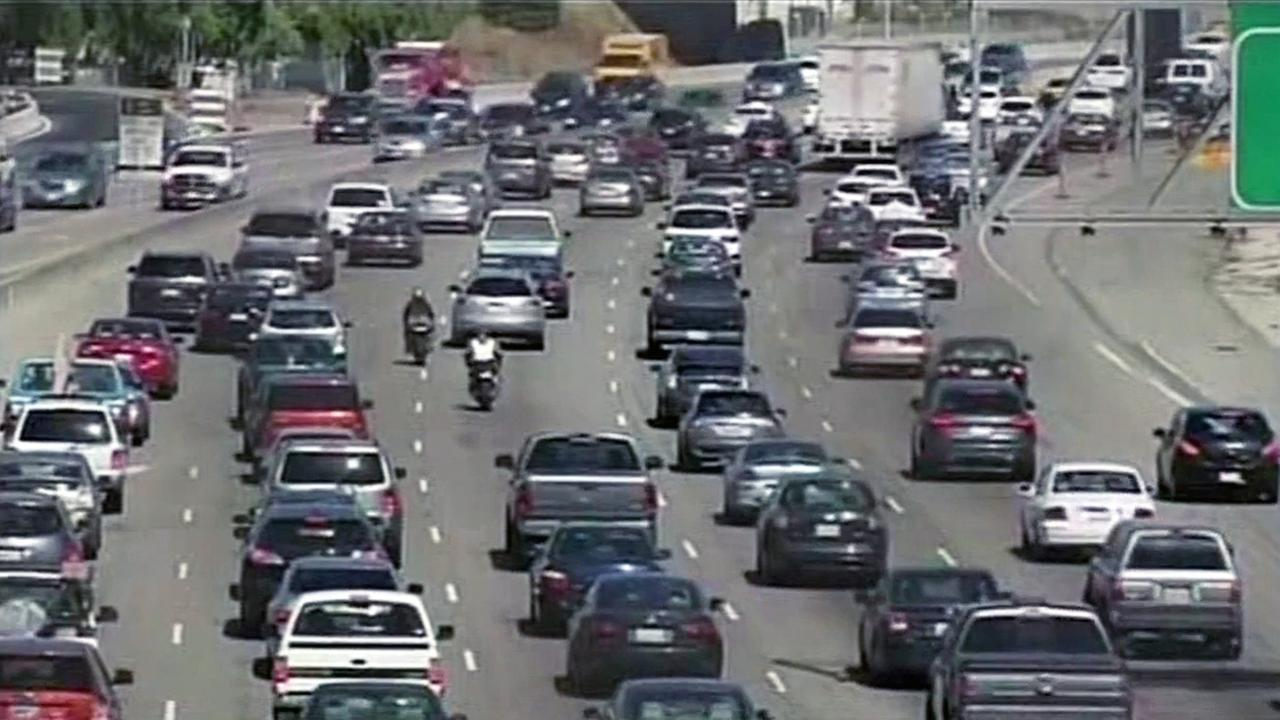 Traffic on highway in Bay Area.