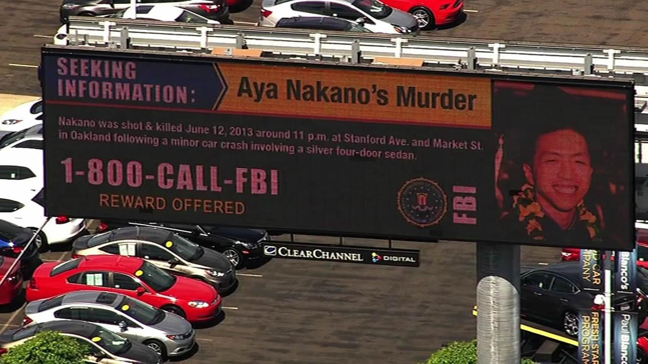 A billboard seen along I-880 on September 10, 2015 announces a reward in the cold case murder of Aya Nakano, who was shot and killed in in Oakland, Calif. on July 12, 2013.