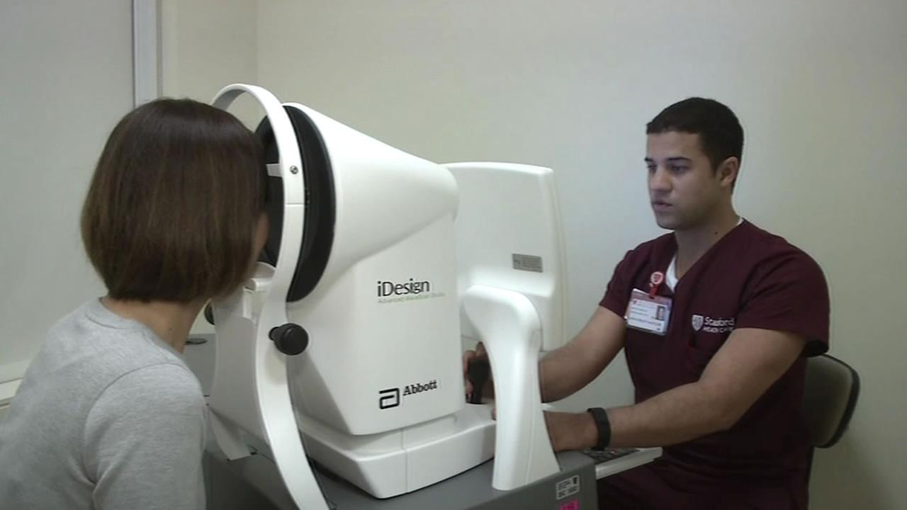 A high resolution device, made by Bay Area based Abbott, uses a laser beam to scan and map the eye, measuring  imperfections like astigmatism and nearsightedness.