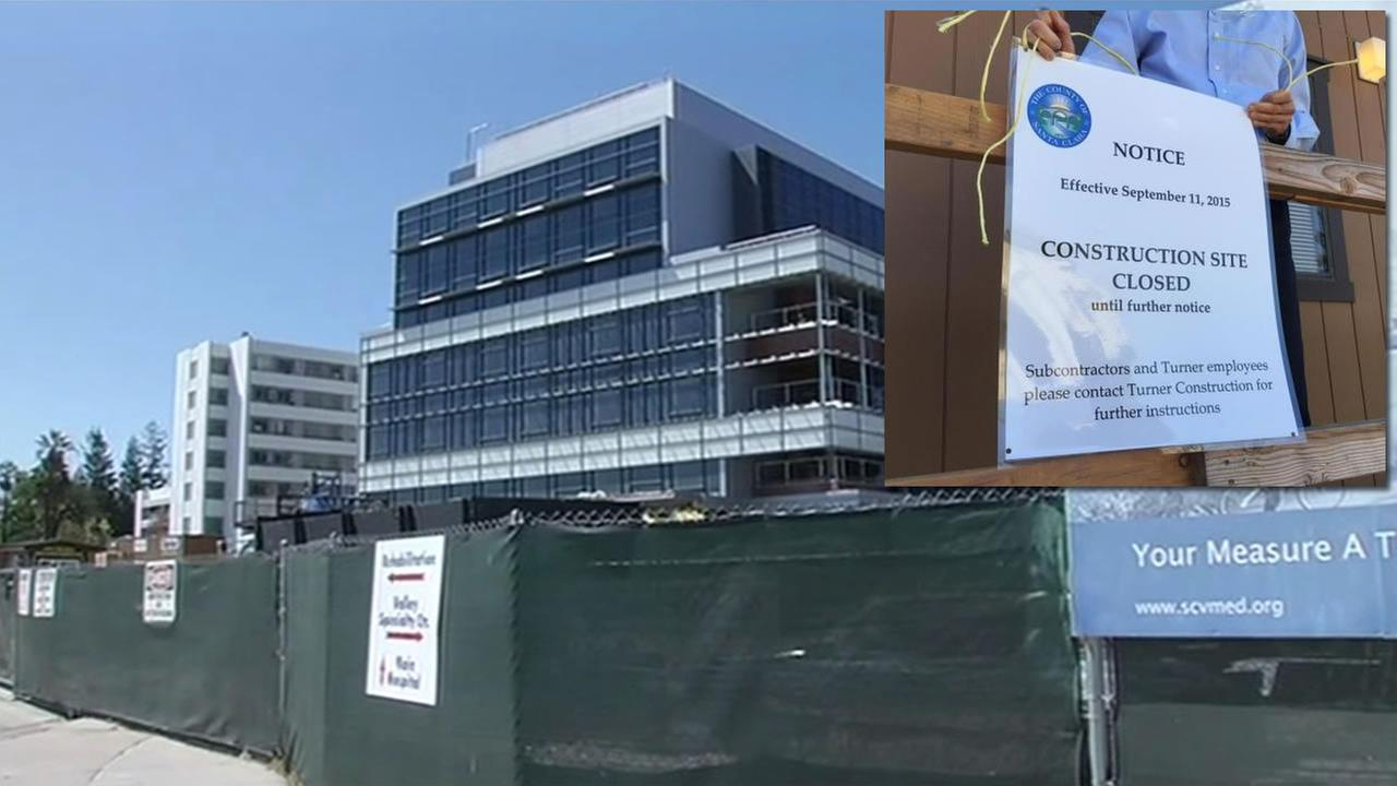 Santa Clara County posted a sign on the Santa Clara Valley Medical Center in San Jose, which effectively locked out Turner Construction from completing the job, Sept. 11, 2015.