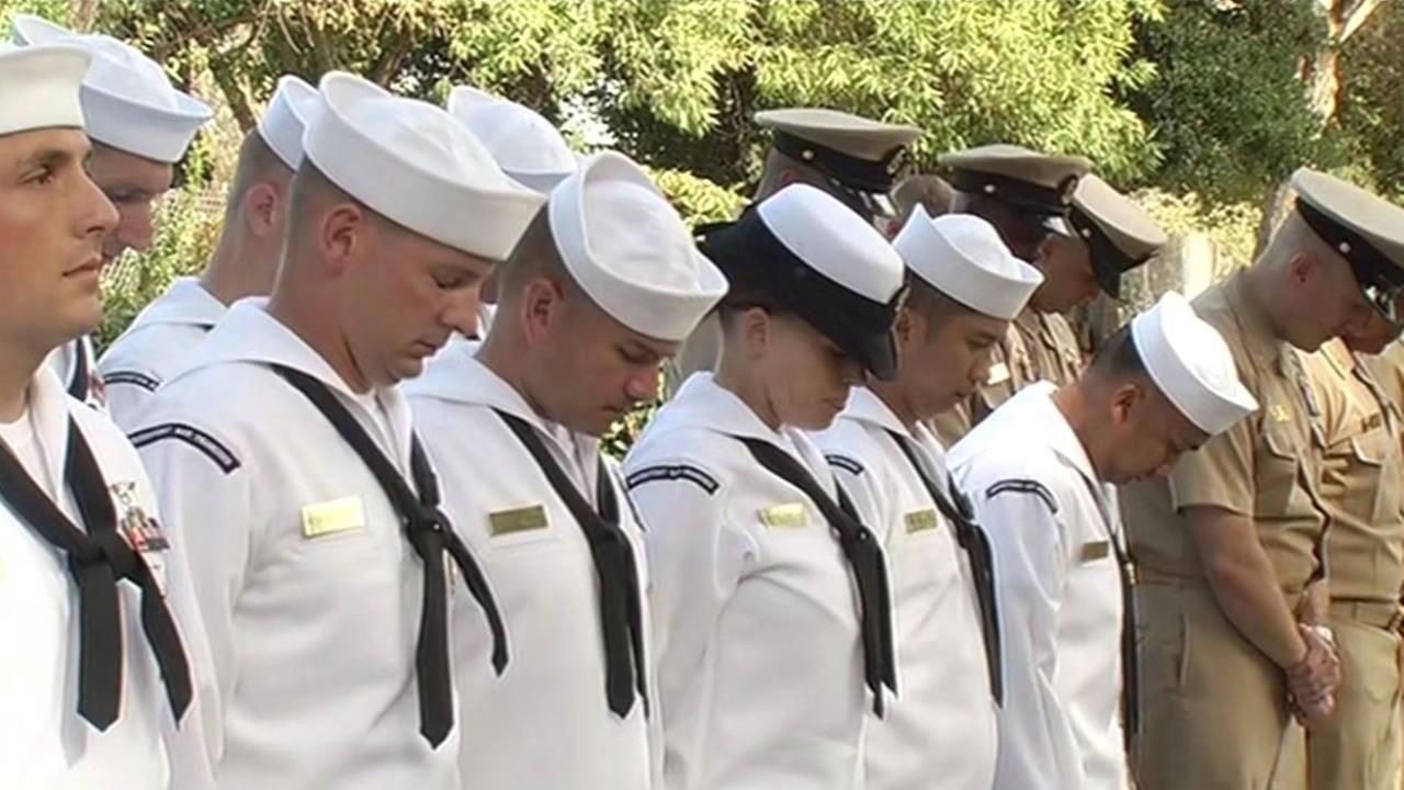 Members of the Navy paid their respects in Lafayette, Calif. Sept. 11, 2015  to the first responders who lost their lives 14 years.