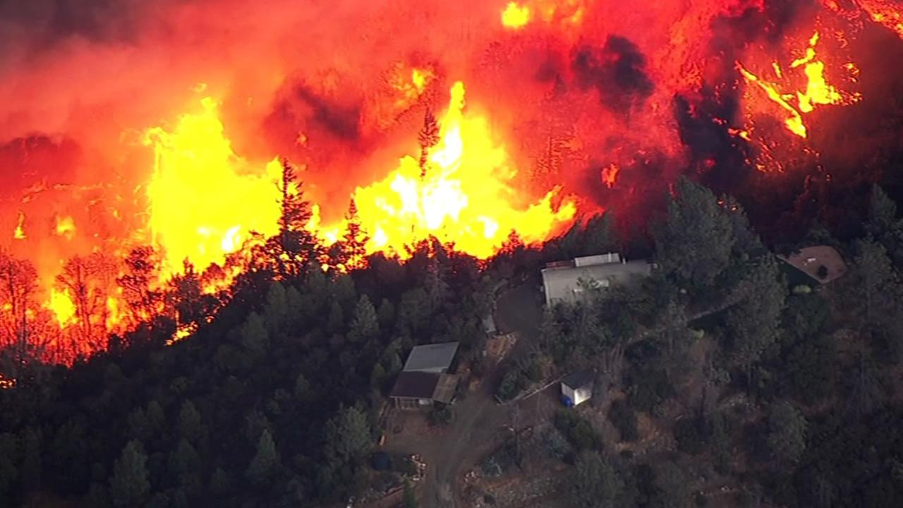 The Valley Fire in Lake County, Calif., burned thousands of acres on Saturday, September, 12, 2015. KGO-TV