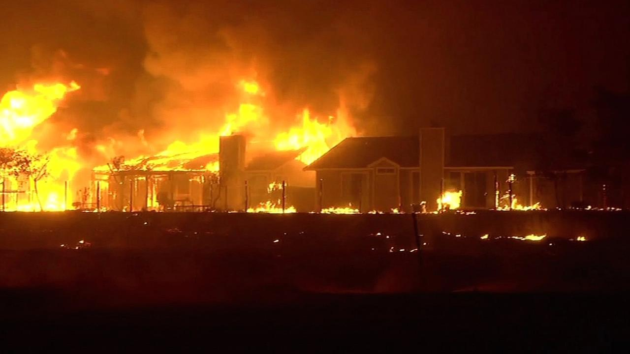 The Valley Fire in Lake County destroys homes on September 12, 2015.KGO-TV