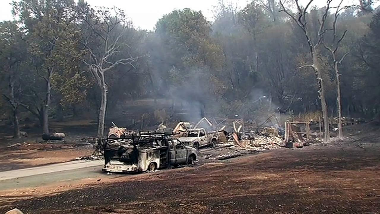Homes that were destroyed by the Valley Fire are seen in Hidden Valley Lake, Calif. on Sunday, September, 13, 2015.KGO-TV