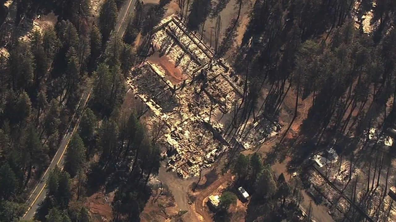 Sky7 HD shows homes destroyed by the Valley Fire in Lake County, Calif. on Tuesday, September 15, 2015.KGO-TV